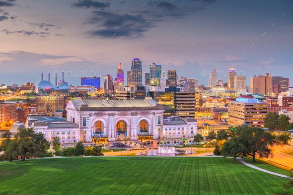 Kansas City, Missouri, USA downtown skyline with Union Station - Stock Photo - Images