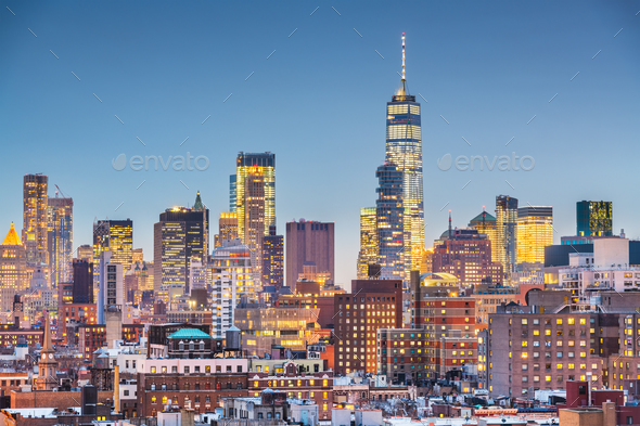 New York, New York cityscape at dusk - Stock Photo - Images