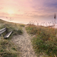 wooden bench by path to North sea coast - PhotoDune Item for Sale