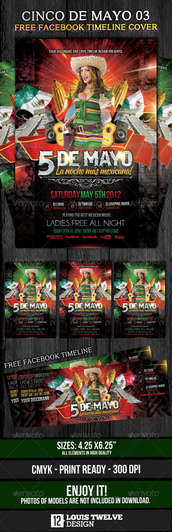 Cinco de Mayo 03 - Flyer Template + Fb Timeline - Clubs & Parties Events