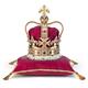 Golden crown on red velvet pillow for coronation. Royal symbol o - PhotoDune Item for Sale