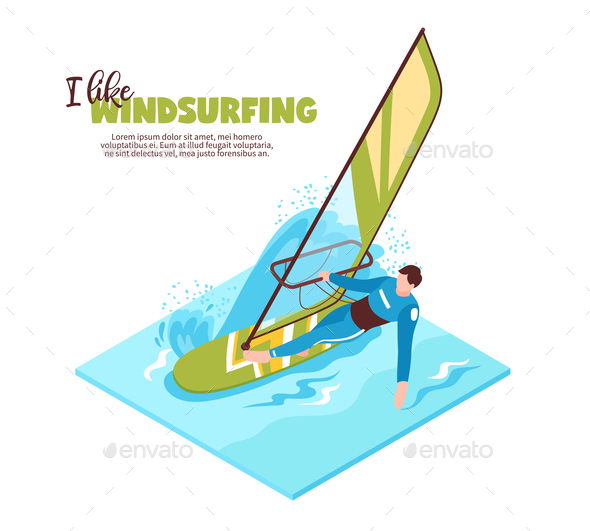 Windsurfing Isometric Vector Illustration