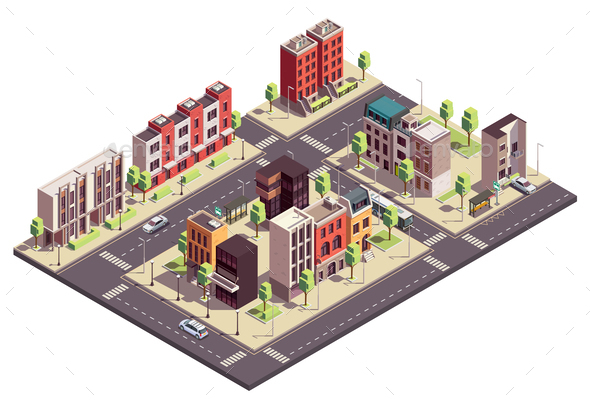 Isometric City Block Composition