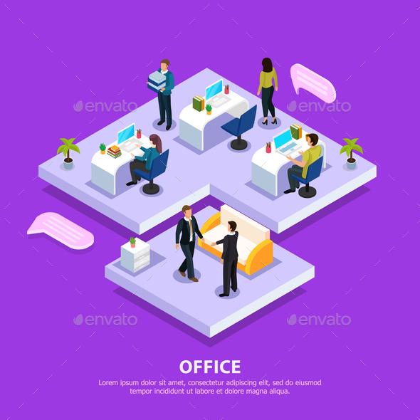 Office Isometric Illustration