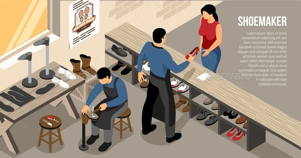 Shoe Work Shop Isometric Illustration