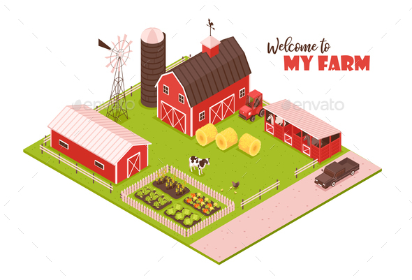 Isometric Farmsteading Landscape Composition