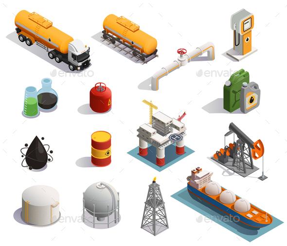 Oil Petroleum Isometric Icons