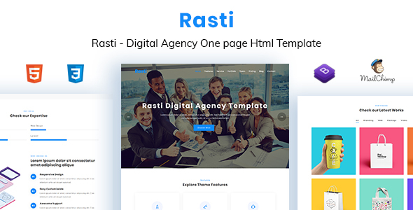 Rasti - Digital Agency One Page HTML Template