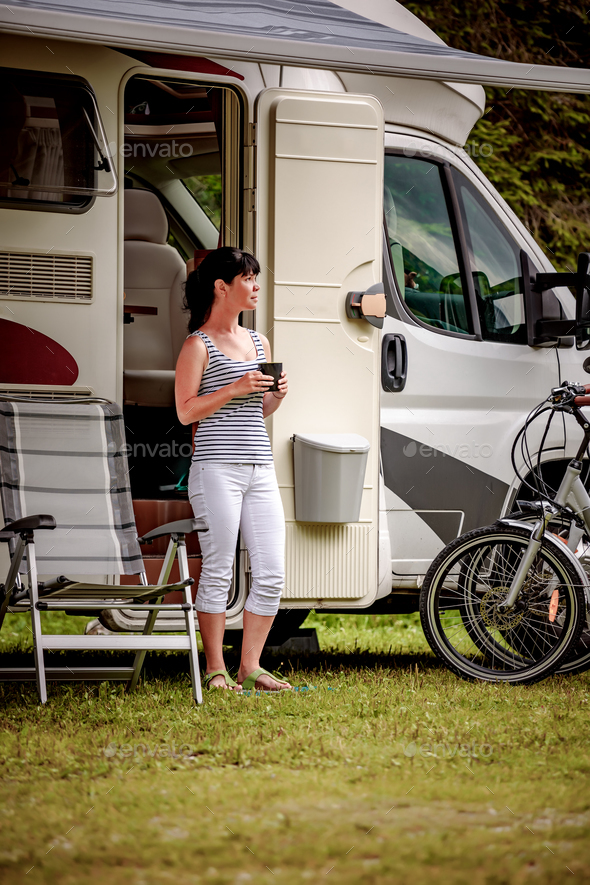 Family vacation travel, holiday trip in motorhome - Stock Photo - Images
