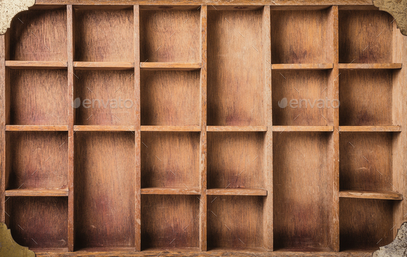Empty wooden box with compartments - Stock Photo - Images