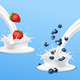 Strawberry and Blueberry Splashing in Milk - GraphicRiver Item for Sale