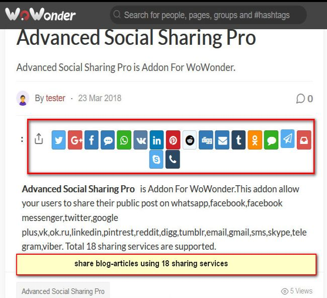 Advanced Social Sharing Pro For WoWonder Free Download