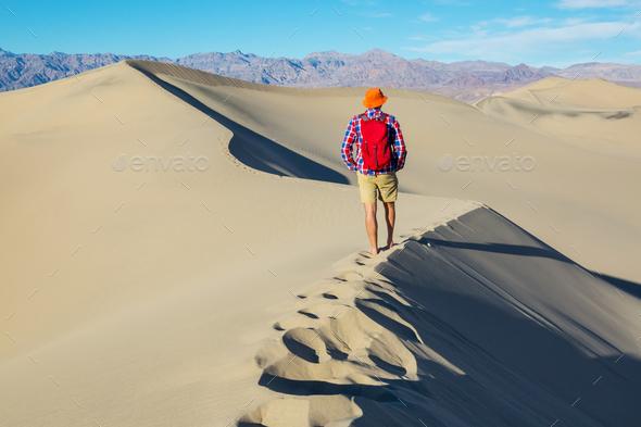Hike in desert - Stock Photo - Images