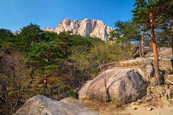 Ulsanbawi rock in Seoraksan National Park, South Korea - Stock Photo - Images