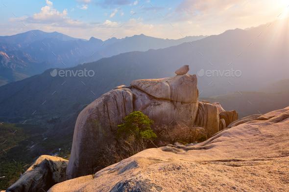 View from Ulsanbawi rock peak on sunset. Seoraksan National Park, South Corea - Stock Photo - Images