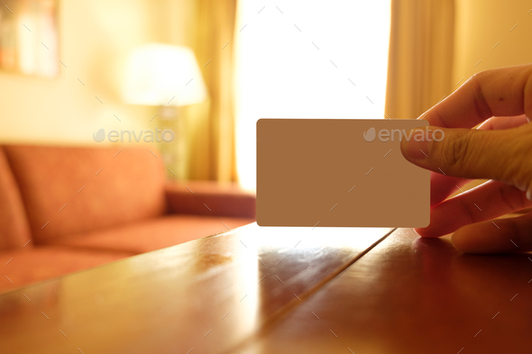 Empty white card in a hotel room - Stock Photo - Images