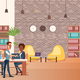 Coworking Space with Creative People Sit at Table - GraphicRiver Item for Sale