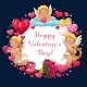 Cupids, Hearts, Flowers and Ring. Valentines Day - GraphicRiver Item for Sale