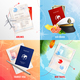 Travel By Air And Sea 2x2 Design Concept - GraphicRiver Item for Sale