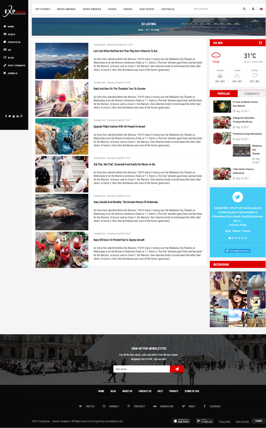 Sj Expnews Clean Drag Drop News Portal Joomla Template
