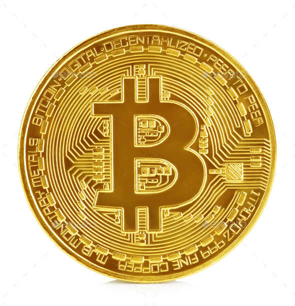 Golden bitcoin isolated on white background. New virtual money. - Stock Photo - Images