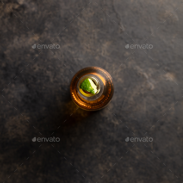 Bottle of beer with lime, flat lay - Stock Photo - Images