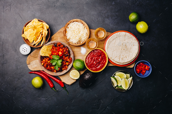 Concept of Mexican food, flat lay - Stock Photo - Images
