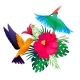 Tropical Birds Plants. Exotic Colored Background - GraphicRiver Item for Sale