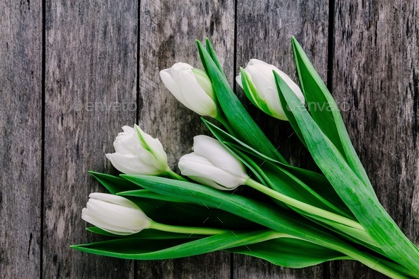 White Tulips Bouquet On A Rustic Wooden Background Mother S Day