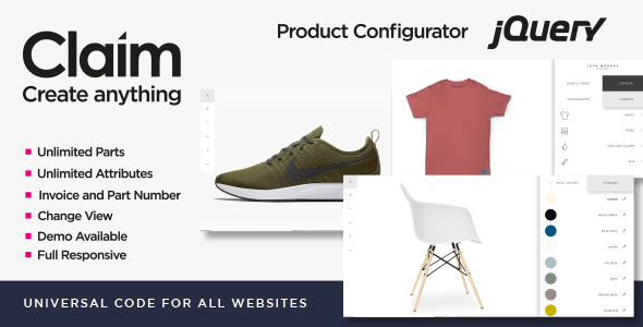 Claim - JQuery Multi-purpose Visual Product Configurator - CodeCanyon Item for Sale