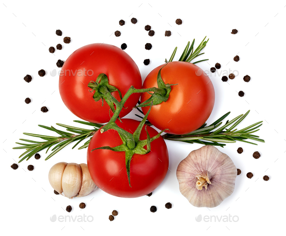 fresh tomato, herbs and spices - Stock Photo - Images