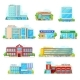 Commercial and Municipal City Buildings Icons - GraphicRiver Item for Sale
