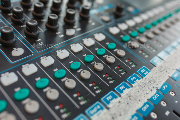 Equipment for DJ and musicians sound mixer. - Stock Photo - Images