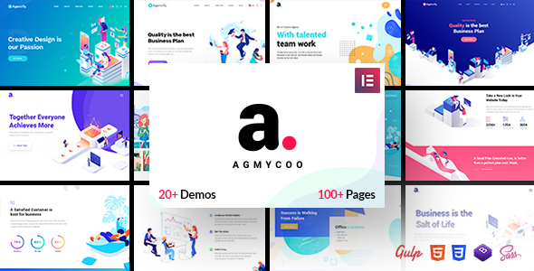 Agmycoo - Isometric Startup Creative Digital Agency WordPress Theme