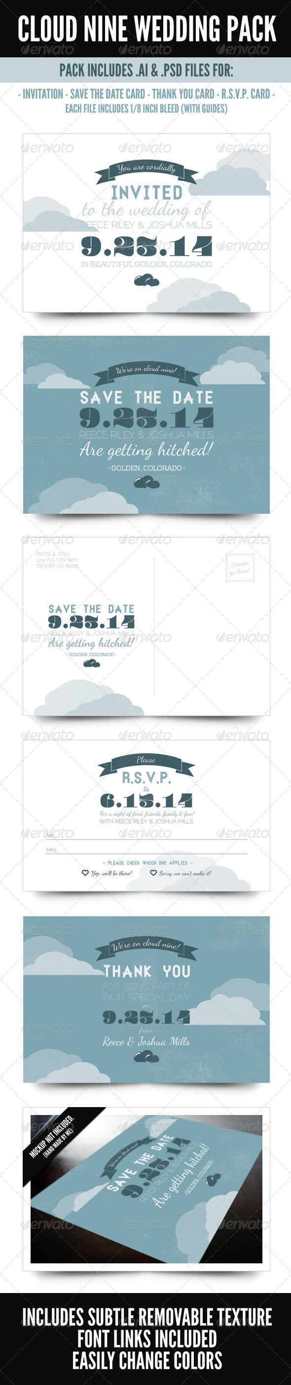 Cloud Nine Wedding Pack - Weddings Cards & Invites