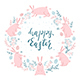 Card with Easter Rabbits and Eggs on White Background - GraphicRiver Item for Sale