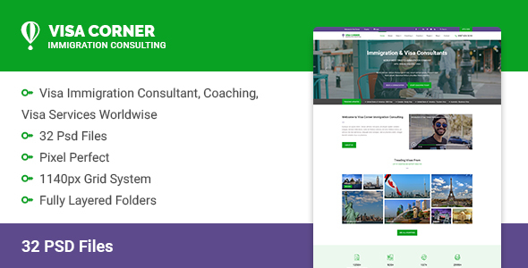 Visa Corner - Immigration and Visa Consulting Psd Template