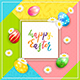 Card on Colorful Background with Lettering Happy Easter and Eggs - GraphicRiver Item for Sale