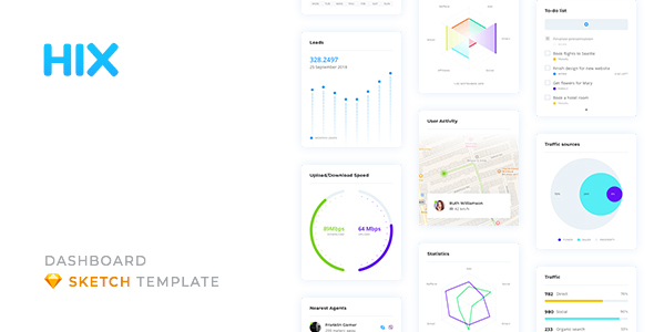 HIX – Dashboard UI Kit for Sketch