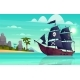 Vector Cartoon Pirate Ship in Bay Island - GraphicRiver Item for Sale