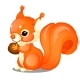 Fluffy Squirrel and Nut Isolated - GraphicRiver Item for Sale