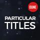 Particular Titles