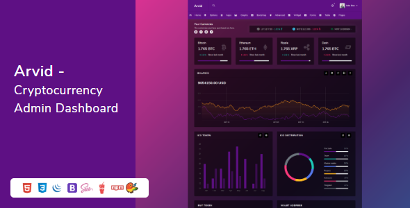 Arvid - Bootstrap Cryptocurrency Admin Dashboard HTML Template
