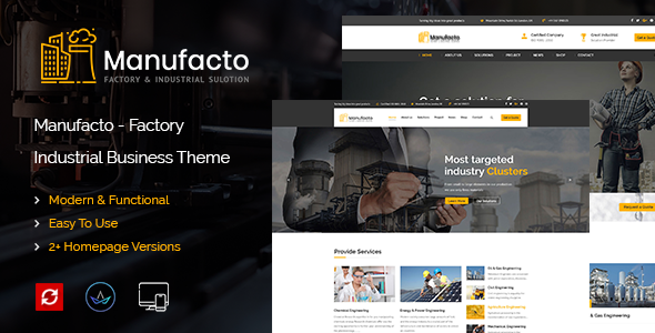 Manufacto Factory & Industrial WordPress Theme - Business Corporate