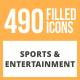 490 Sports & Entertainment Filled Round Icons - GraphicRiver Item for Sale
