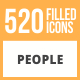 520 People Filled Round Icons - GraphicRiver Item for Sale