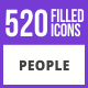 520 People Filled Blue & Black Icons - GraphicRiver Item for Sale