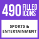 490 Sports & Entertainment Filled Blue & Black Icons - GraphicRiver Item for Sale