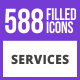 588 Services Filled Blue & Black Icons - GraphicRiver Item for Sale