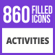 860 Activities Filled Blue & Black Icons - GraphicRiver Item for Sale